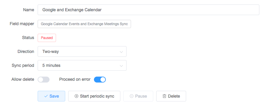 configure your sync